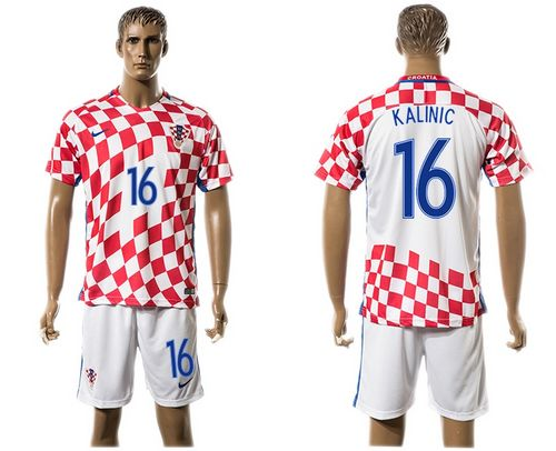 Croatia #16 Kalinic Home Soccer Country Jersey