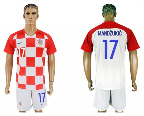 Croatia #17 Mandzukic Home Soccer Country Jersey