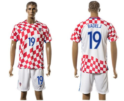Croatia #19 Badelj Home Soccer Country Jersey