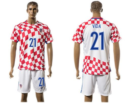 Croatia #21 Vida Home Soccer Country Jersey