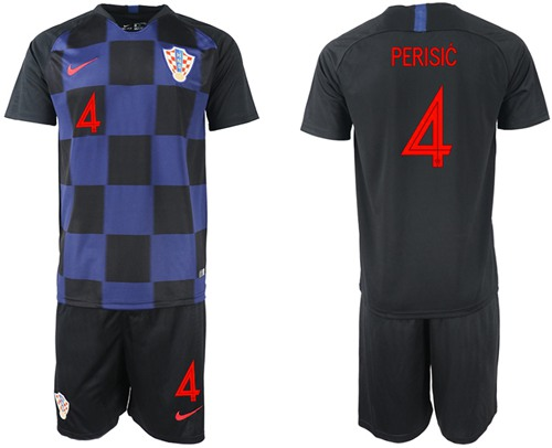 Croatia #4 Perisic Away Soccer Country Jersey