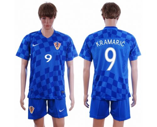 Croatia #9 Kramaric Away Soccer Country Jersey