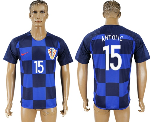 Croatia #15 Antolic Away Soccer Country Jersey