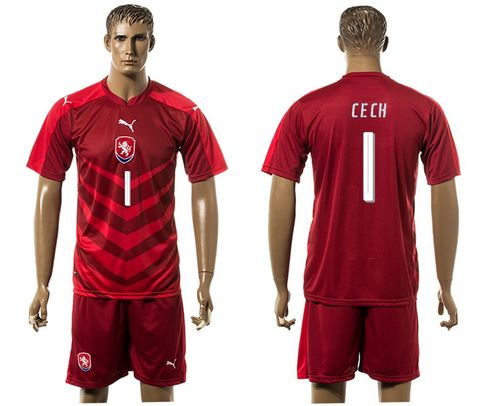 Czech #1 Cech Red Home Soccer Country Jersey