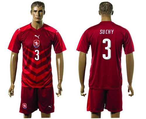 Czech #3 Suchy Red Home Soccer Country Jersey