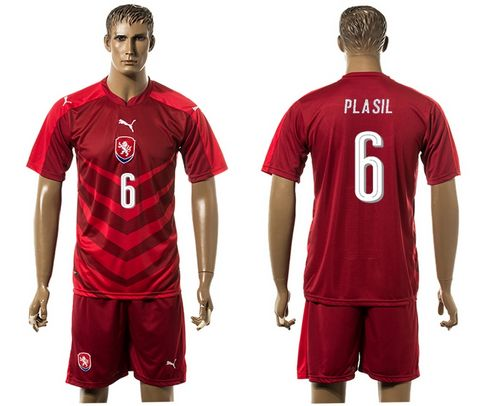 Czech #6 Plasil Red Home Soccer Country Jersey