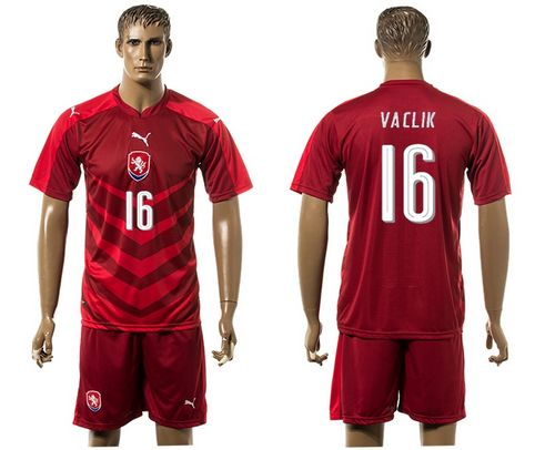 Czech #16 Vaclik Red Home Soccer Country Jersey