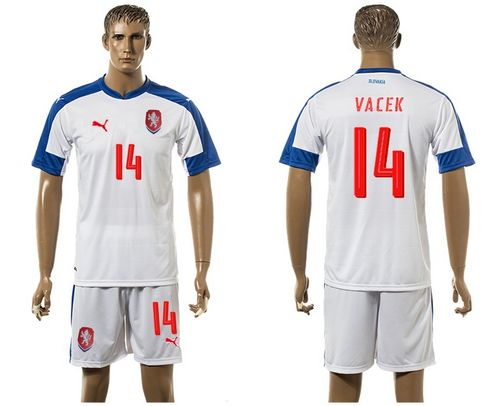 Czech #14 Vacek Away Soccer Country Jersey