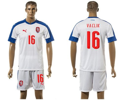 Czech #16 Vaclik Away Soccer Country Jersey
