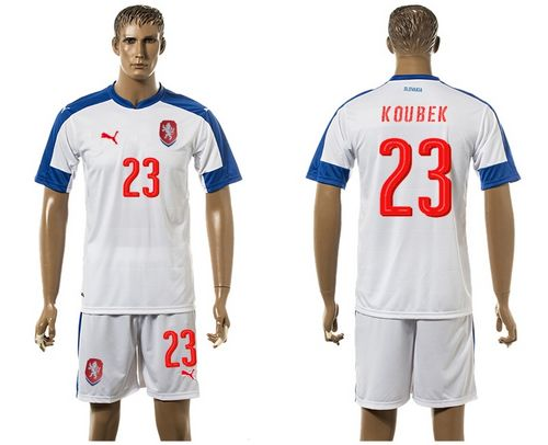 Czech #23 Koubek Away Soccer Country Jersey