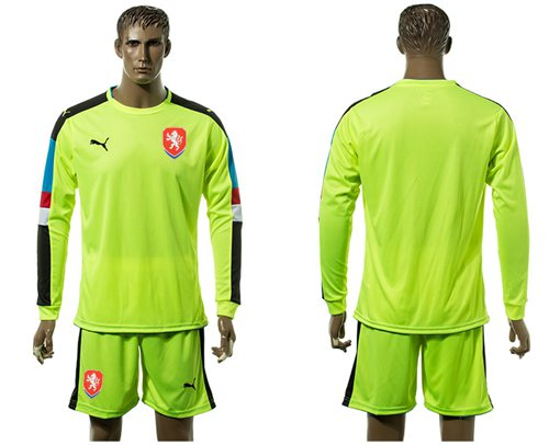 Czech Blank Shiny Green Goalkeeper Long Sleeves Soccer Country Jersey