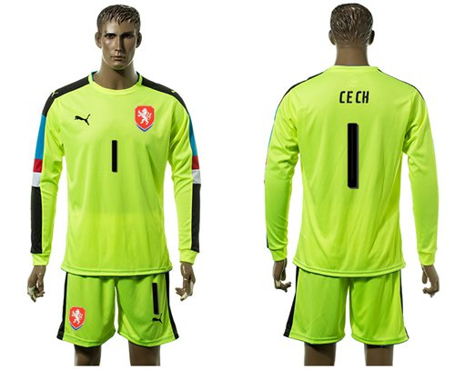 Czech #1 Cech Shiny Green Goalkeeper Long Sleeves Soccer Country Jersey