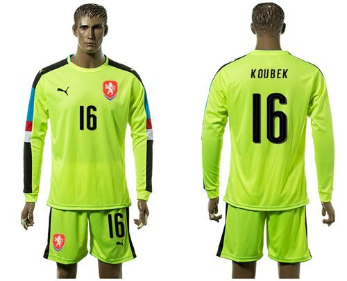 Czech #16 Koubek Shiny Green Goalkeeper Long Sleeves Soccer Country Jersey