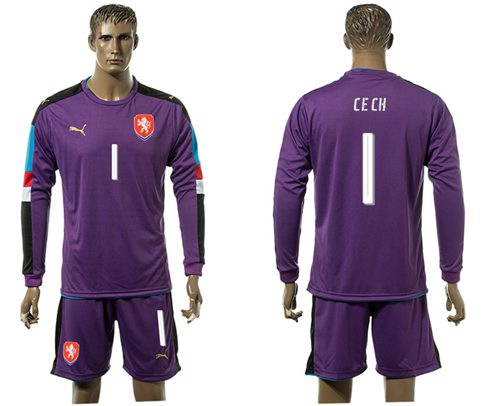 Czech #1 Cech Purple Goalkeeper Long Sleeves Soccer Country Jersey