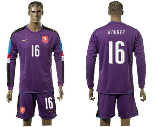 Czech #16 Koubek Purple Goalkeeper Long Sleeves Soccer Country Jersey