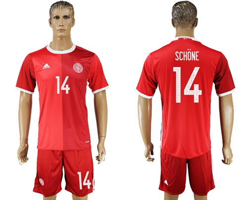 Danmark #14 Schone Red Home Soccer Country Jersey