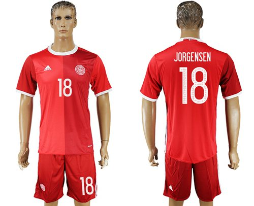 Danmark #18 Jorgensen Red Home Soccer Country Jersey