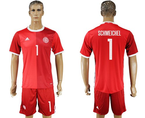 Danmark #1 Schmeichel Red Home Soccer Country Jersey