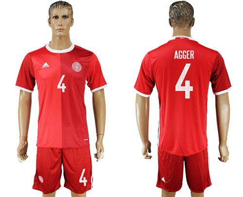 Danmark #4 Agger Red Home Soccer Country Jersey
