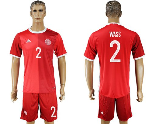 Danmark #2 Wass Red Home Soccer Country Jersey