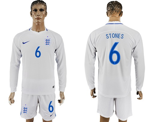 England #6 Stones Home Long Sleeves Soccer Country Jersey