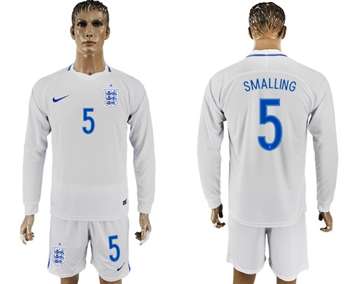 England #5 Smalling Home Long Sleeves Soccer Country Jersey