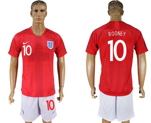 England #10 Rooney Away Soccer Country Jersey