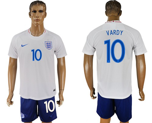 England #10 Vardy Home Soccer Country Jersey