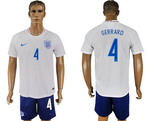 England #4 Gerrard Home Soccer Country Jersey