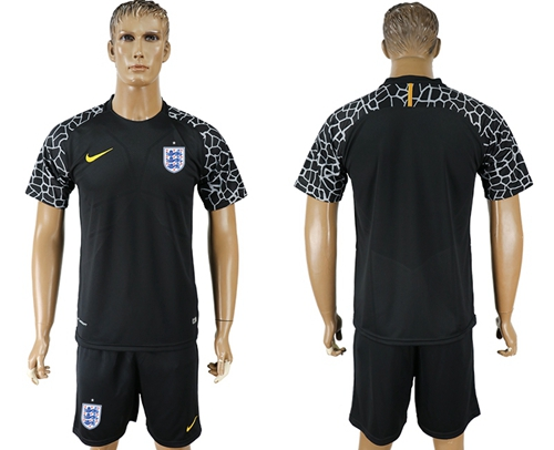 England Blank Black Goalkeeper Soccer Country Jersey