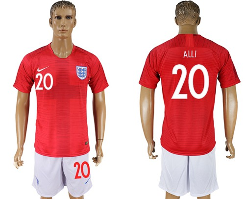 England #20 Alli Away Soccer Country Jersey