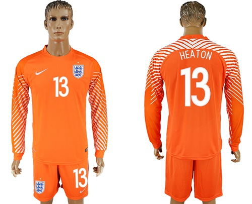 England #13 Heaton Orange Long Sleeves Goalkeeper Soccer Country Jersey