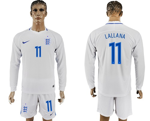 England #11 Lallana Home Long Sleeves Soccer Country Jersey