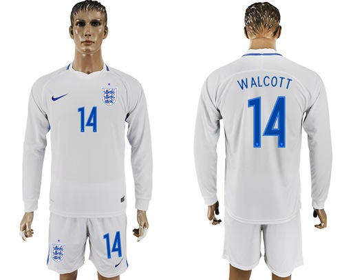 England #14 Walcott Home Long Sleeves Soccer Country Jersey