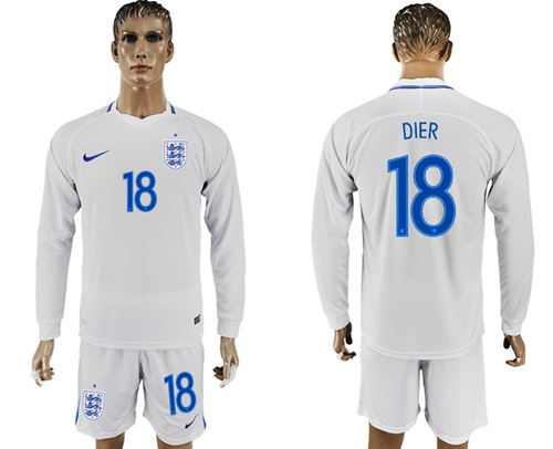 England #18 Dier Home Long Sleeves Soccer Country Jersey