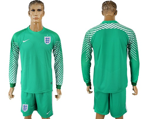 England Blank Green Long Sleeves Goalkeeper Soccer Country Jersey