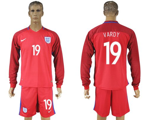 England #19 Vardy Away Long Sleeves Soccer Country Jersey