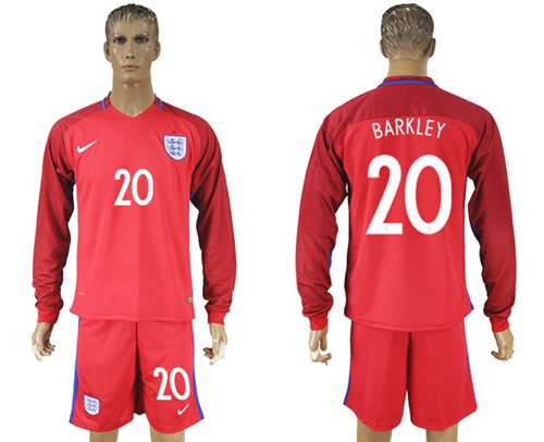 England #20 Barkley Away Long Sleeves Soccer Country Jersey