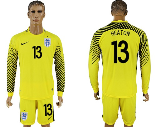 England #13 Heaton Yellow Long Sleeves Goalkeeper Soccer Country Jersey