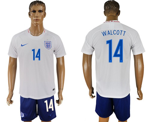 England #14 Walcott Home Soccer Country Jersey