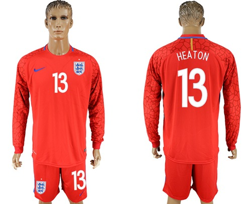 England #13 Heaton Red Long Sleeves Goalkeeper Soccer Country Jersey