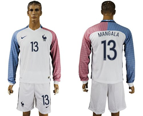France #13 Mangala Away Long Sleeves Soccer Country Jersey
