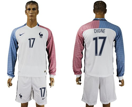 France #17 Digne Away Long Sleeves Soccer Country Jersey