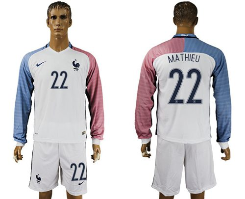 France #22 Mathieu Away Long Sleeves Soccer Country Jersey