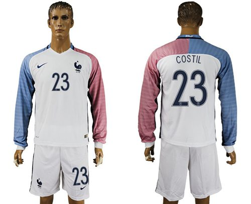 France #23 Costil Away Long Sleeves Soccer Country Jersey