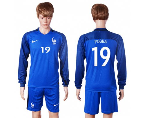 France #19 Pogba Home Long Sleeves Soccer Country Jersey