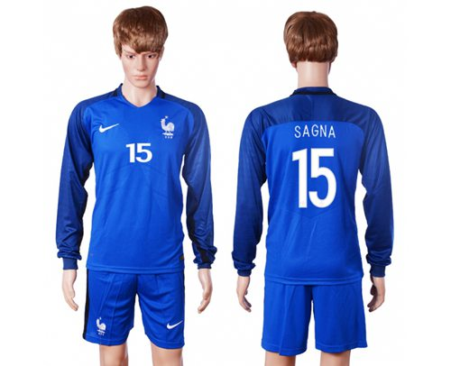France #15 Sagna Home Long Sleeves Soccer Country Jersey