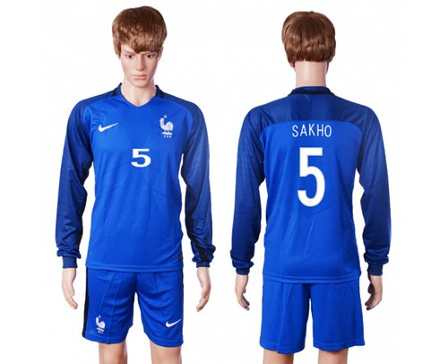 France #5 Sakho Home Long Sleeves Soccer Country Jersey