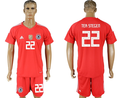 Germany #22 Ter Stegen Red Goalkeeper Soccer Country Jersey