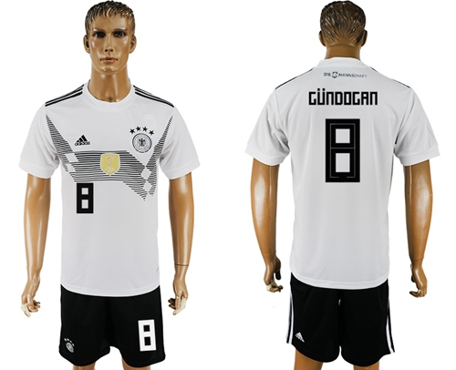 Germany #8 Gundogan White Home Soccer Country Jersey